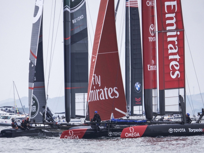 Emirates Team New Zealand sailing on the second race day at the Louis Vuitton America's Cup World Series Fukuoka, Japan