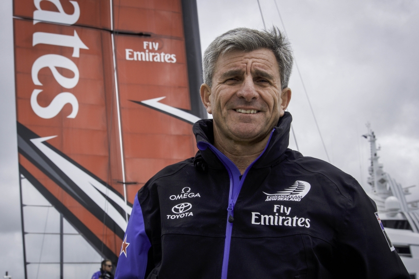 Emirates Team New Zealand shore crew working on the race boat construction