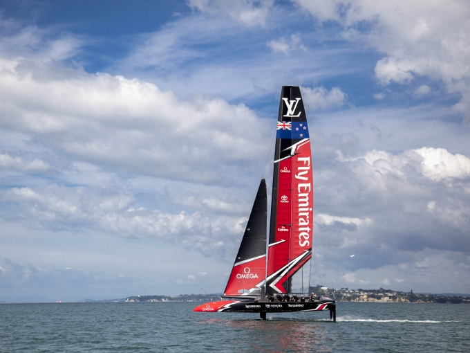 Emirates Team New Zealand sail their America's Cup Class race boat for the third day in Auckland New Zealand