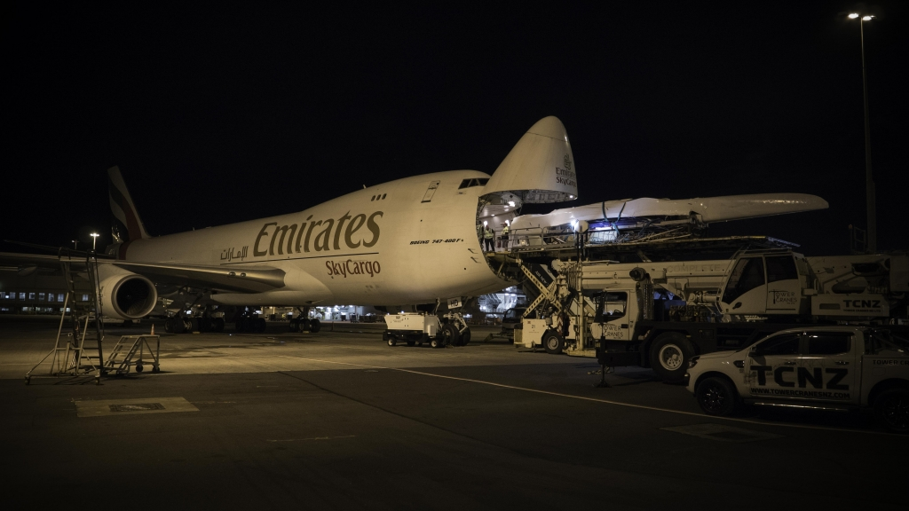 Emirates Team New Zealand load their America's Cup Class race boat into an Emirates Sky Cargo 747 at Auckland International Airport to fly to Bermuda for the 35th America's Cup