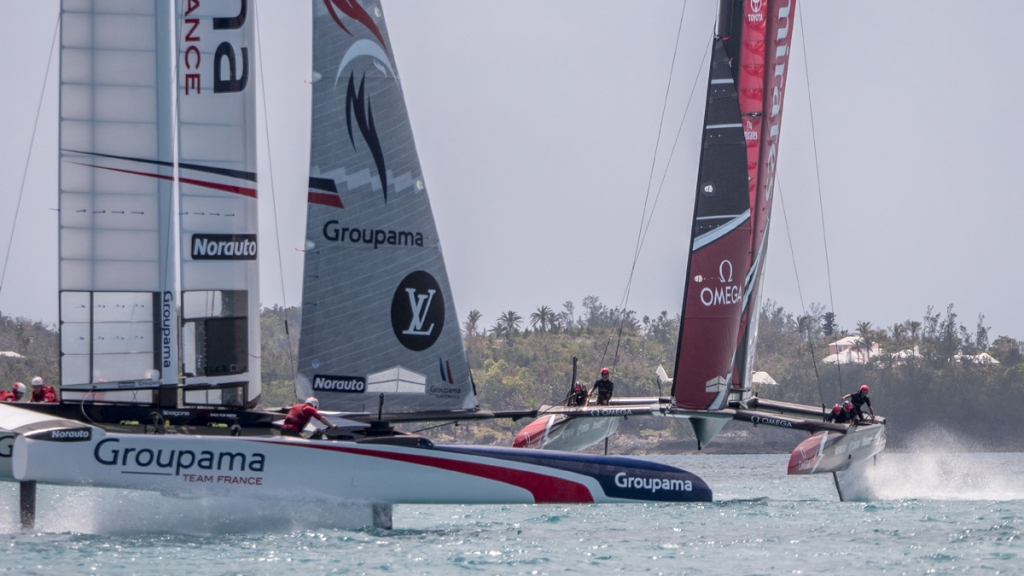 Emirates Team New Zealand sailing on Bermuda's Great Sound testing in the lead up to the 35th America's Cup