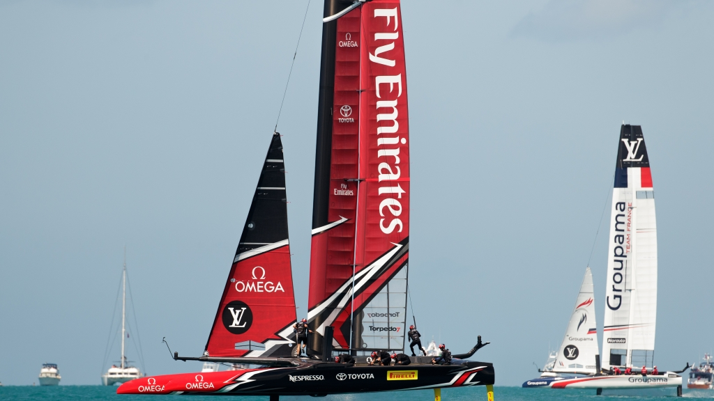Emirates Team New Zealand sailing on Bermuda's Great Soun... <a href=