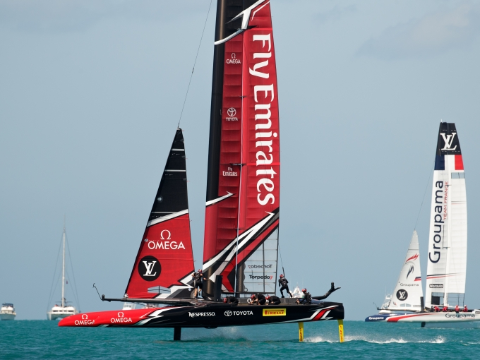 Emirates Team New Zealand sailing on Bermuda's Great Sound in the Louis Vuitton America's Cup Qualifiers  Round Robin 1 - Race 3 - Emirates Team New Zealand (NZL) vs. Groupama Team France (FRA