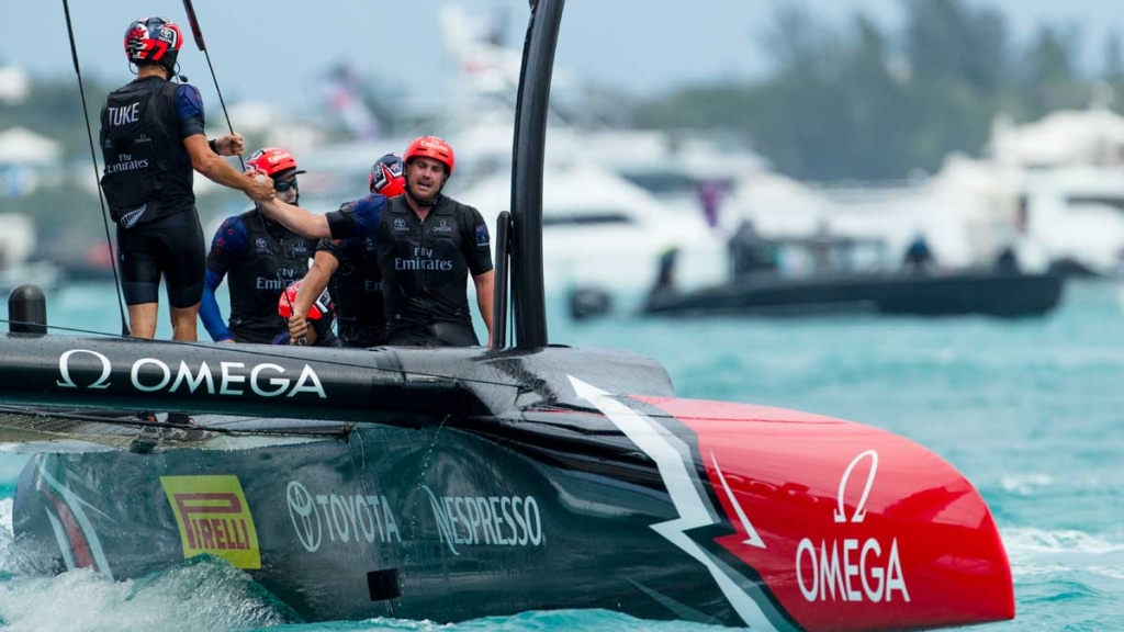 Emirates Team New Zealand sailing on Bermuda's Great Sound in the Louis Vuitton America's Cup Challenger Playoffs Finals Emirates Team New Zealand (NZL) vs. Artemis Racing (SWE) Race 6.   Copyright: Richard Hodder / Emirates Team New Zealand
