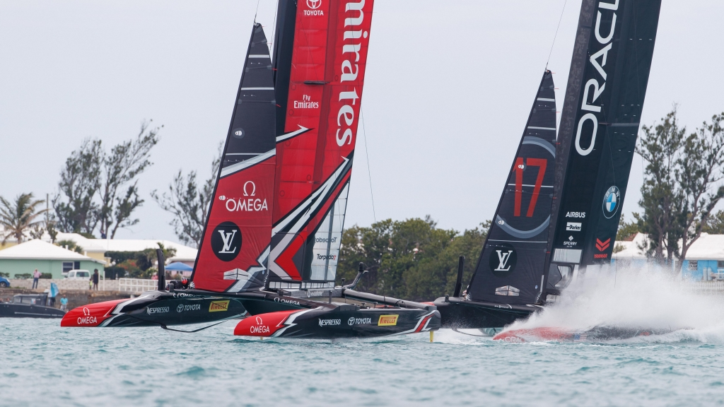 Louis Vuitton America's Cup Match Racing Day 3. Emirates Team New Zealand vs. Oracle Team USA races 5 & 6.   Copyright: Richard Hodder / Emirates Team New Zealand