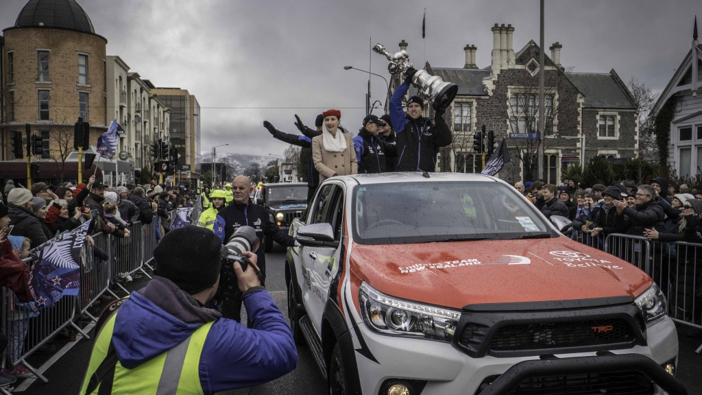 Emirates Team New Zealand victory parade in Christchurch New Zealand