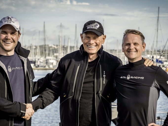 16/3/18- Emirates Team New Zealand CEO Grant Dalton, and representatives from Sail Racing upon agreement that Sail Racing will become the Official Supplier of clothing for Emirates Team New Zealand