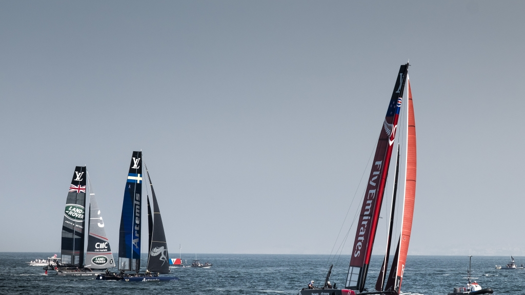 th of February 2016, First day of race, Emirates  Team New Zealand competing in the Louis Vuitton America's Cup AC 45 World Series Oman
